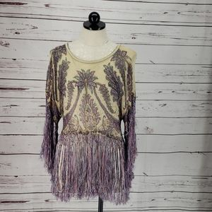 Free People Abstract Floral Print Fringed Top